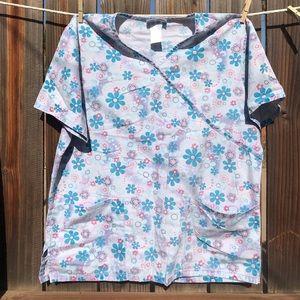 Cute floral scrub top